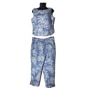 Tommy Bahama 100% Silk Blue Floral Pant Set
